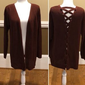 Say What Cardigan with  Lace Up Back.  Medium
